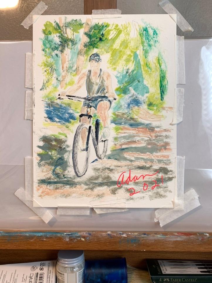 Girl on Bicycle Study 1 ©Felipe Adan Lerma, watercolor on paper Sept 2021 9x12