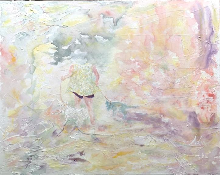 Fantasy Walk ©Felipe Adan Lerma, 16x20 watercolor on light absorbent ground on canvas https://felipeadan-lerma.pixels.com/featured/fantasy-walk-felipe-adan-lerma.html