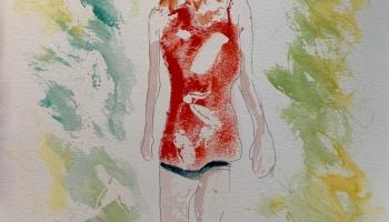 Walking in Dappled Light Study 1 ©Felipe Adan Lerma, 9x12 watercolor on paper Sept 2021 https://felipeadan-lerma.pixels.com/featured/walking-in-dappled-light-study-1-felipe-adan-lerma.html